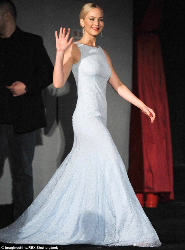 Sashaying with style: The Oscar-winning actress looked resplendent in her classically styled gown