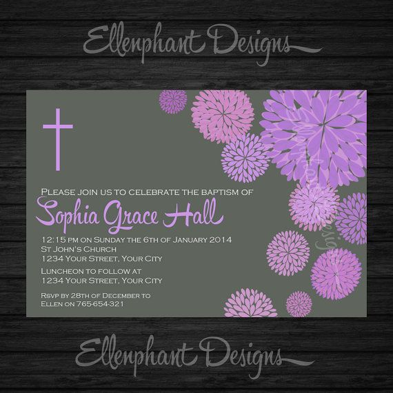 Customize for first communion Purple Baptism Invitation christening first by ellenphant on Etsy, $15.00