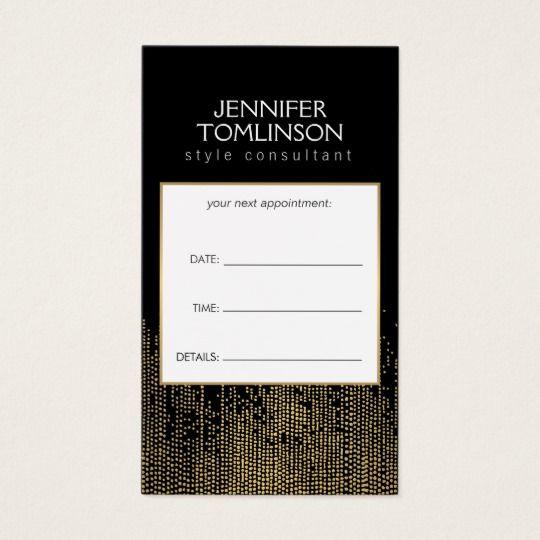 Элегантный Искусственные золотые конфетти Dots Pattern Black Business Card