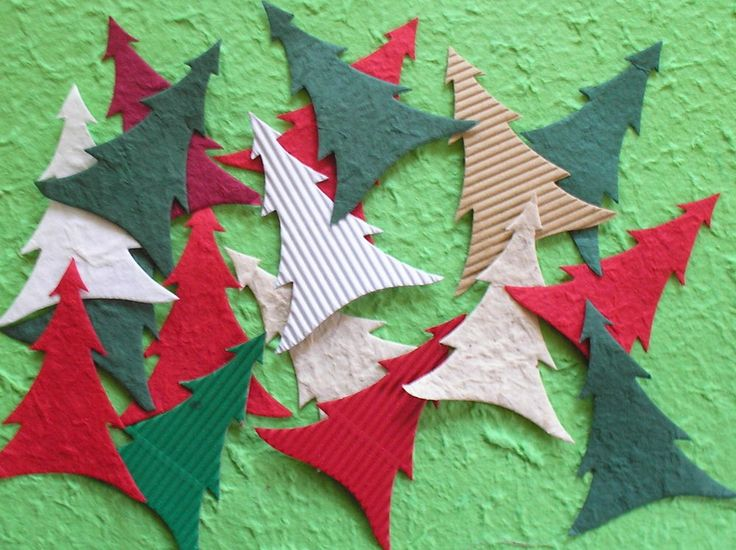 Mulberry paper & card CHRISTMAS TREE die cuts for CARD MAKING, TAGS AND CRAFTS