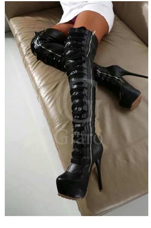 Stacked thigh high boots