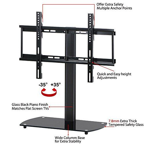 universal swiveling tabletop tv stand rolling tv monitor stand mount features swivel and