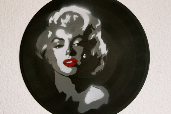 Marilyn Monroe on Vinyl Record Painting by Sprayed Expressions, $25.00