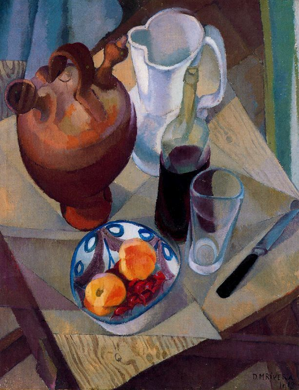Artist: Diego Rivera    Completion Date: 1913    Style: Cubism    Genre: still life    Technique: tempera    Material: canvas    Dimensions: 65 x 84 cm    Gallery: Hermitage, St. Petersburg, Russia