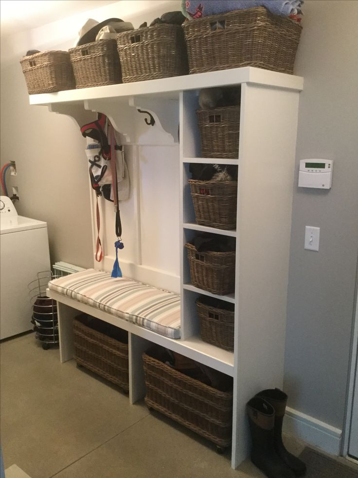 Mud Room Bench With Pottery Barn Baskets Mudroom Bench
