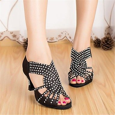 Latin Women's Sandals Cuban Heel Satin with Rhinestone Dance Shoes(More Colors) – USD $ 54.99