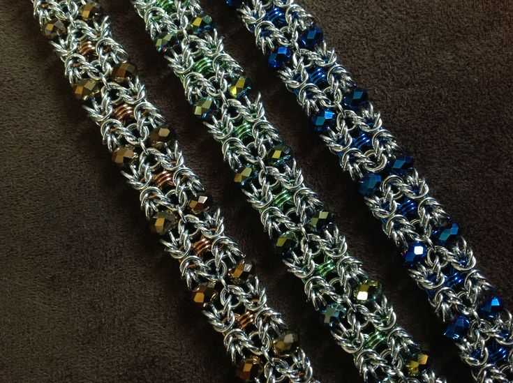 Artisan Chain Maille Czech Beaded Bracelet from Freya Jewelry on Storenvy #chainmaille #jewelry