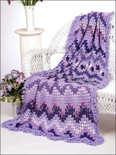 Lavender Hills Crochet Pattern Download from e-PatternsCentral.com -- Glorious shades of purple in a variety of yarns and textures join to create this sumptuous afghan.