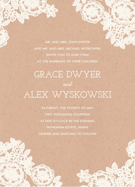 lace and kraft wedding invitation, katharine watson for minted