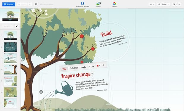 Prezi - a whole new experience for creating presentations!  Work on a canvas rather then slides - see for yourself!