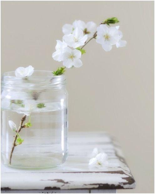 witte bloemen in een glazen pot - white flowers - jar - simple