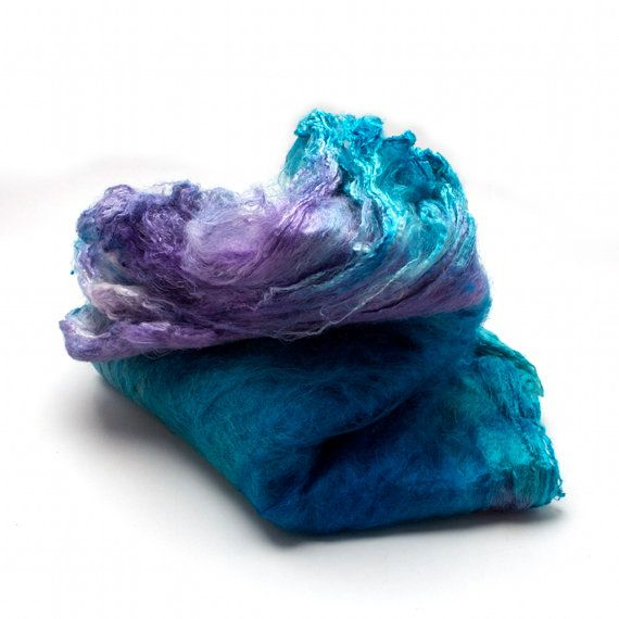 Hand-dyed Silk Mawatas (Hankies) for Spinning or Knitting- 1.1 ounces: Hands Di Silk, Dyed Silk,  Woolen, Silk Mawata, Mawata Hanky, 1 1 Ounc, Handdi Silk,  Woollen