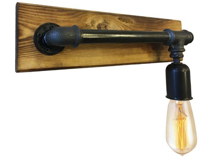 Απλίκα industrial | wall lighting | Απλίκα industrial from Lampadari industrial φωτιστικο wood and metal pipes