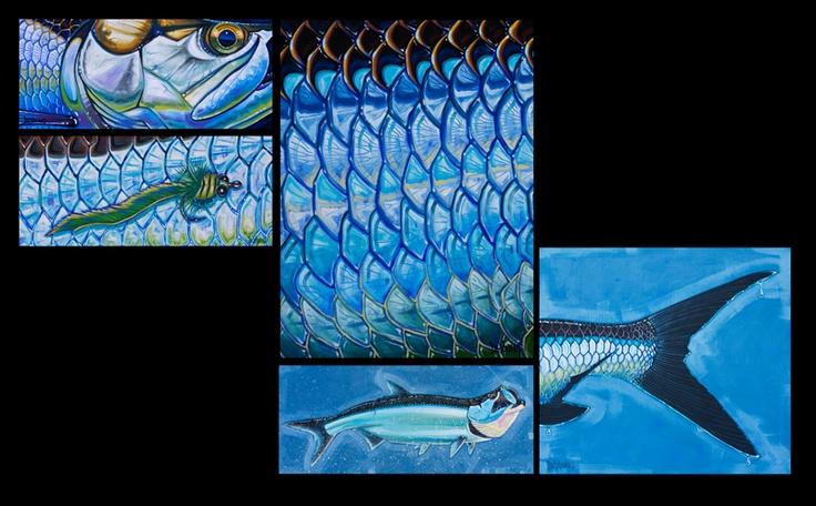 5 Panel Tarpon Fish Print $180