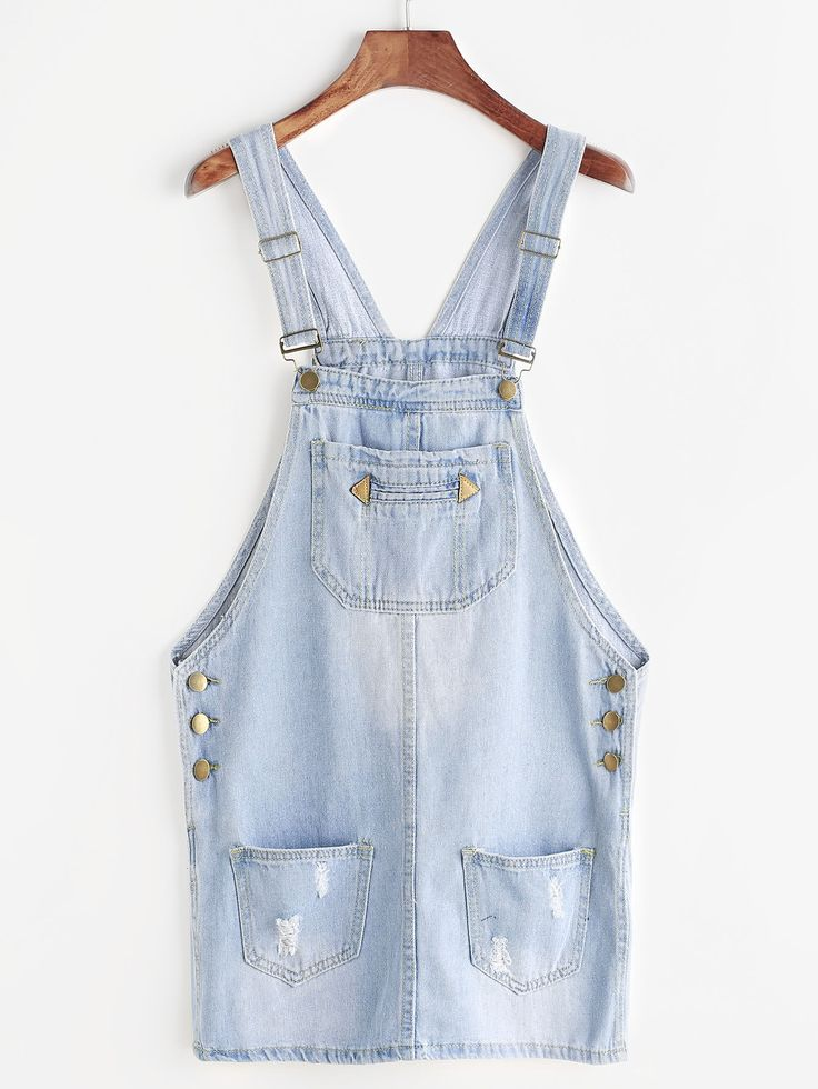 Shop Ripped Bleach Wash Denim Overall Dress online. SheIn offers Ripped Bleach Wash Denim Overall Dress & more to fit your fashionable needs.