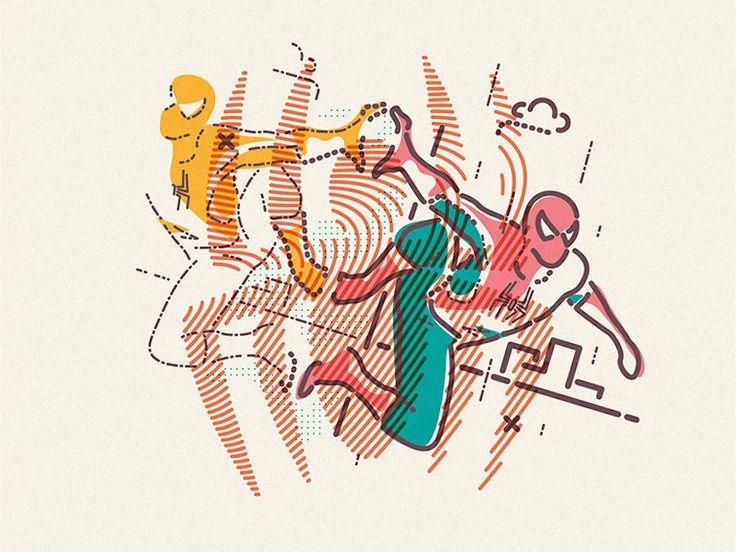 Colorful Linear Illustrations of Pop Culture Heroes – Fubiz Media