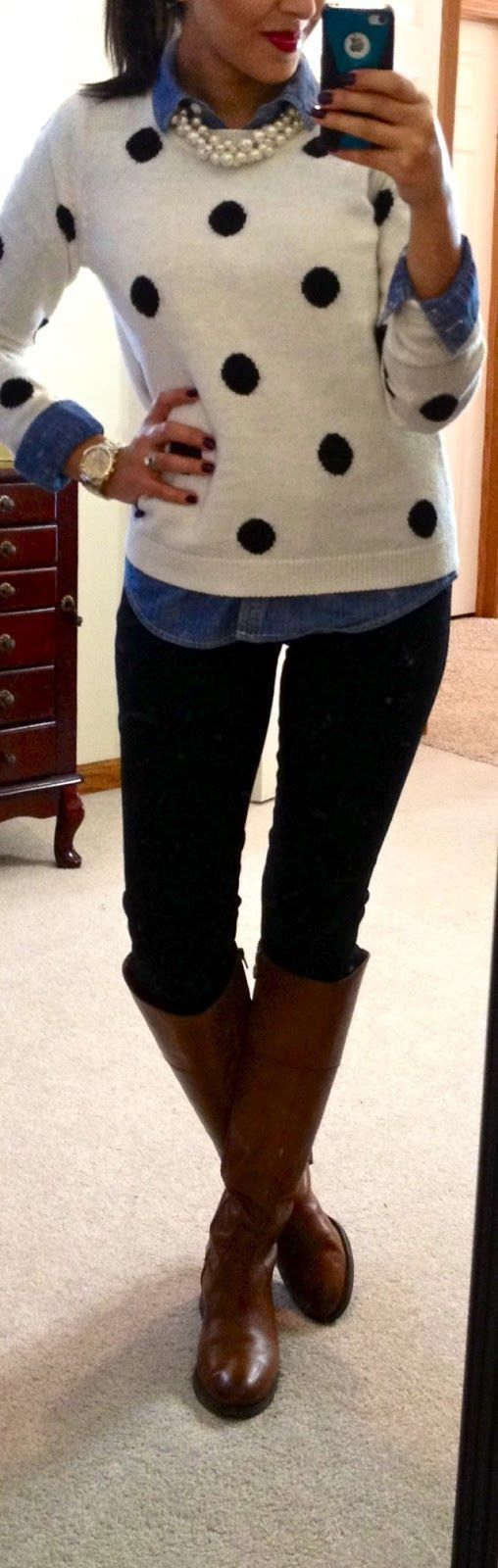 Preppy winter outfit - your denim shirt under a sweater....dots and pearls!
