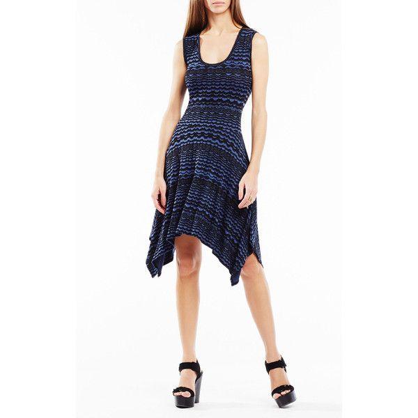 BCBGMAXAZRIA Ane Striped Knit Jacquard Dress ($198) ❤ liked on Polyvore featuring dresses, navy, stripe dress, handkerchief hem dress, white scalloped dress, bcbgmaxazria dress and navy stripe dress