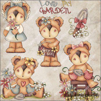 Garden Teddies 1 Clip Art Set
