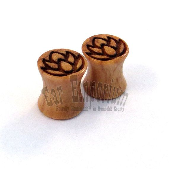 "Lotus Flower Olivewood Wooden Plugs - 2g (6.5mm) 0g (8mm) 00g (9mm) (10mm) 7/16"" (11mm) 1/2"" (13mm) 9/16"" (14mm) 16mm 19mm Wood Ear Gauges"