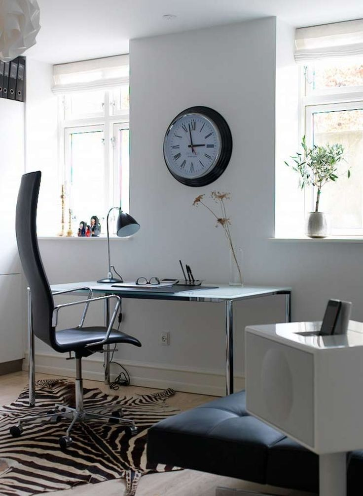 Home Office , Smart Home Office Design : Cool  Home Office Design With Swivel Chair And Desk And Table Lamp And Fake Zebra Skin Rug www.sebraskinn.no