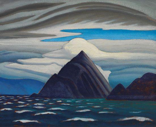 Lawren Harris - Morin Island Eclipse Sound North Baffin Island Arctic Painting XXXVI 12 x 15 Oil on board (1930)