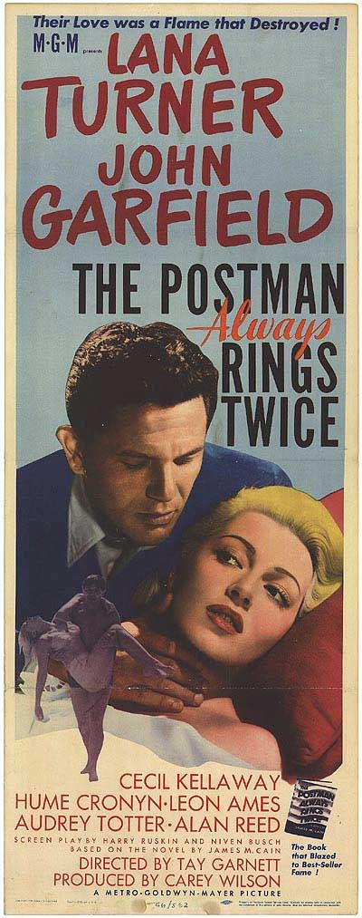 1946:The Postman Always Rings Twice film noir by James M. Cain.Stars Lana Turner, John Garfield. Frank Chambers (Garfield) is a hobo who stops at a rural diner for a meal and ends up working there. The diner is operated by a beautiful young woman, Cora Smith (Turner), and her much older husband, Nick (Kellaway). Frank and Cora start an affair. Cora is tired of her situation, married to a man she does not love and working at a diner that she wishes to own. She and Frank scheme to murder Nick…