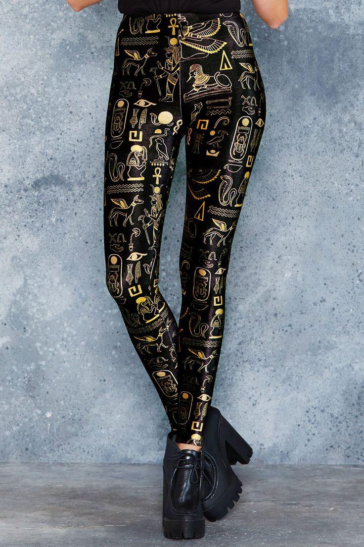 Hieroglyphics Gold High Waisted Velvet Leggings - 48HR ($75AUD) by BlackMilk Clothing