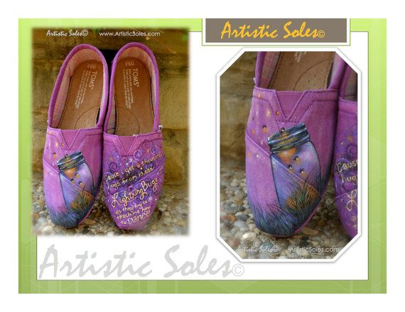 Custom Hand Painted TOMS Shoes  Summer Evening with Fireflies by ArtisticSoles, $125.00Tom Painting Shoes, Hands Painting Tom, Custom Hands, Tom Shoes, Tompaint Shoes, Hand Painted Toms