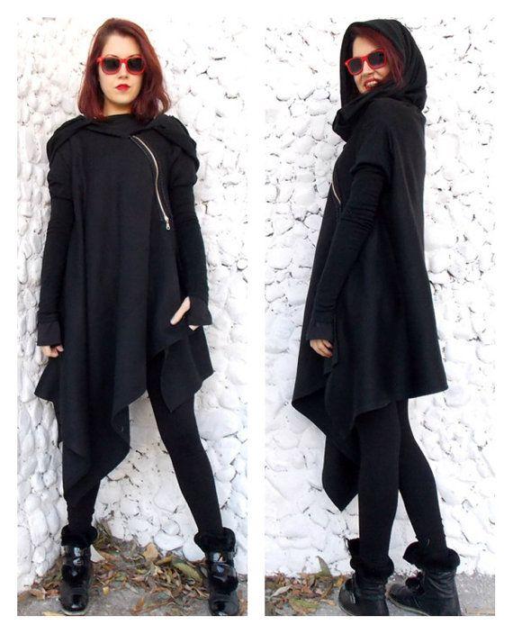 Asymmetric Extravagant Black Coat / Black Extravagant by Teyxo
