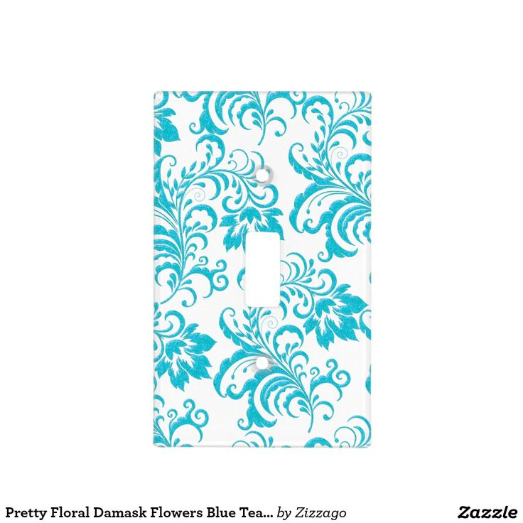 Pretty Floral Damask Flowers Blue Teal White Switch Plate Covers