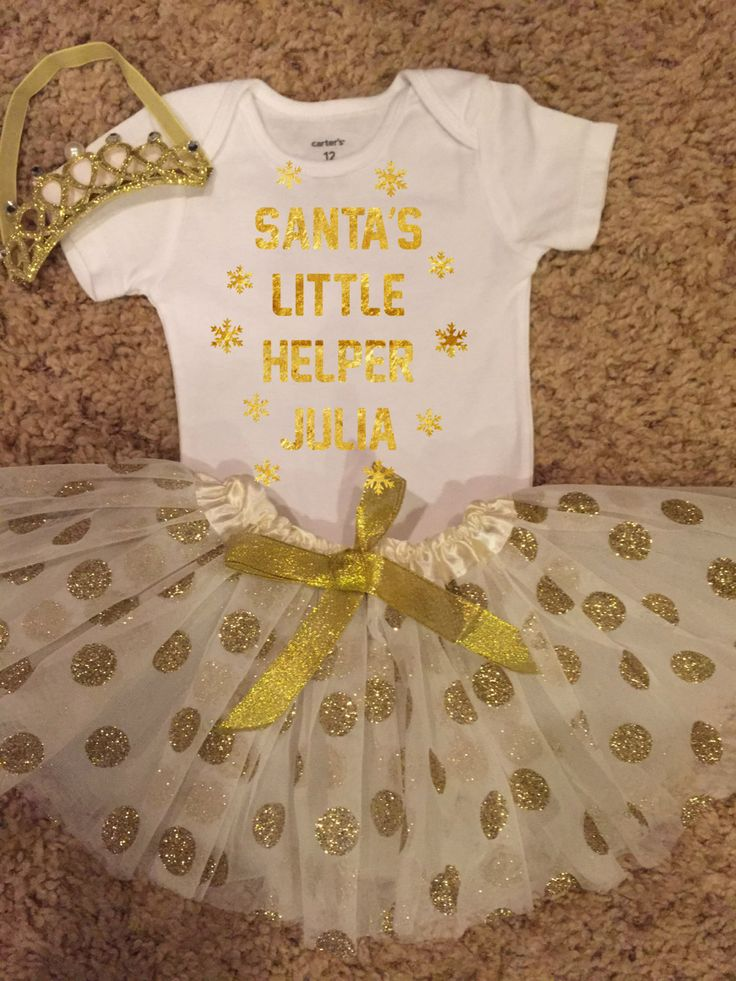 Christmas Outfits for Girls, White and Gold baby outfit, glitter tutu, gold tutu, White and Gold Christmas Outfit  PERSONALIZED by FunMunchkin on Etsy