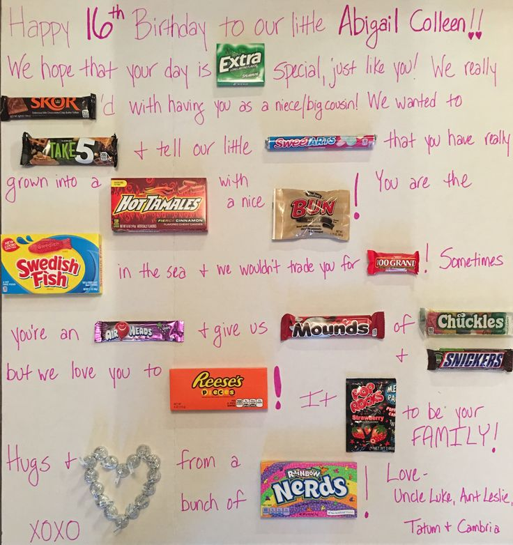 Sweet 16 Candy Board Gift Ideas For Girls Sweet 16 For