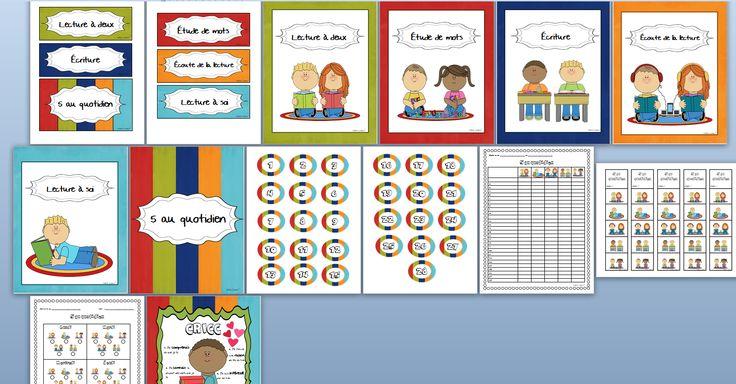 Voici tout ce qu'il vous faut pour mettre en place les 5 au quotidien dans votre classe!   Cet ensemble de 14 pages comprend: - 6 petites affiches pour créer un tableau d'inscription - 28 jetons pour y inscrire les élèves - 7 grandes affiches: 5 au quotidien, lecture à soi, lecture à deux, écoute de la lecture, écriture, étude de mots, CRICC  - grille de suivi hebdomadaire pour la classe  - signets - feuille de suivi hebdomadaire pour l'élève  4$