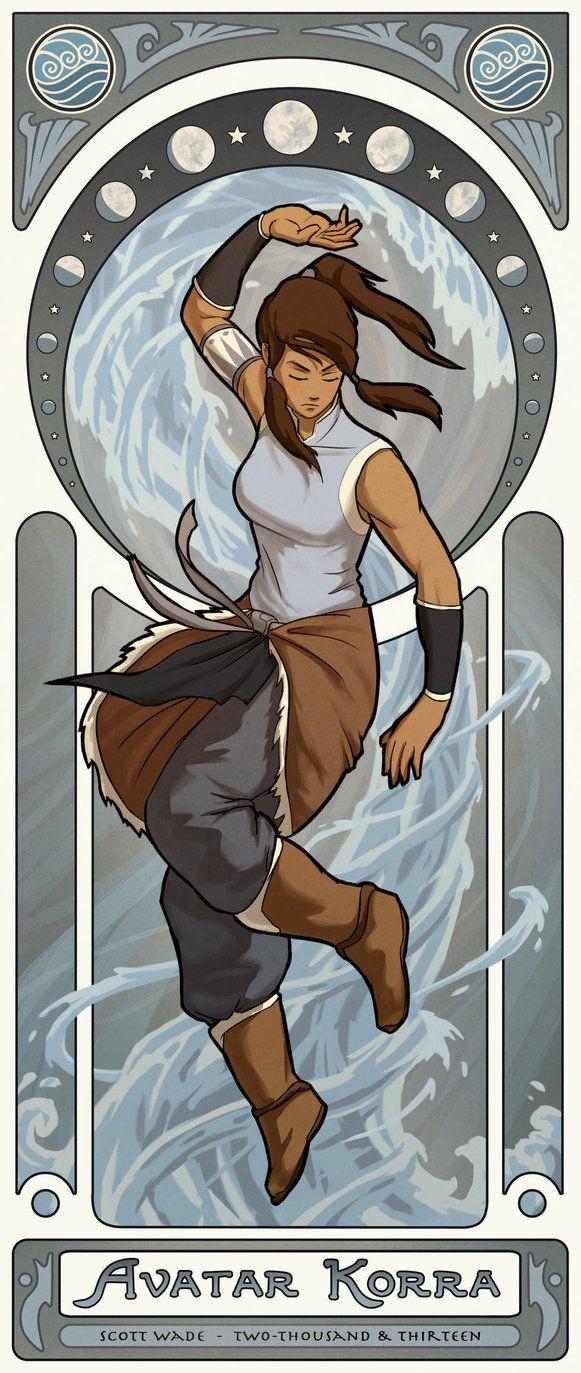 """Mucha Style - """" #Korra"""" """" #Avatar"""" Illustration in style of """"Alphonse Mucha"""" by """"swadeart"""" on @deviantART"""