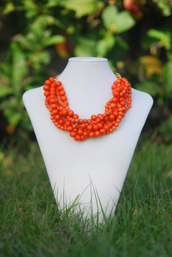 Orange Statement Necklace Spring Necklace by TheEnchantingOwl