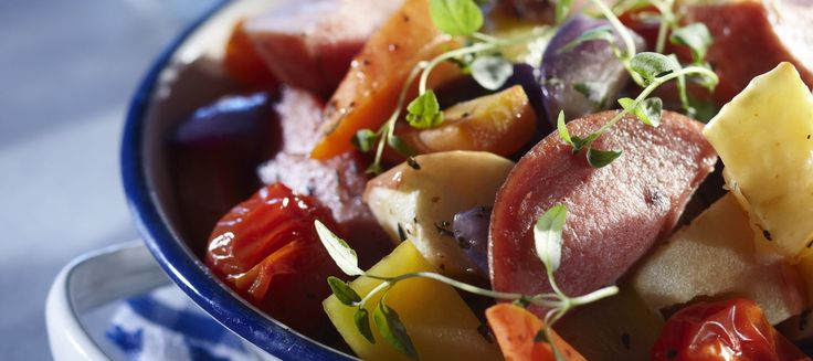 Omenaiset uunikasvikset ja -makkara | Pääruoat | Reseptit – K-Ruoka