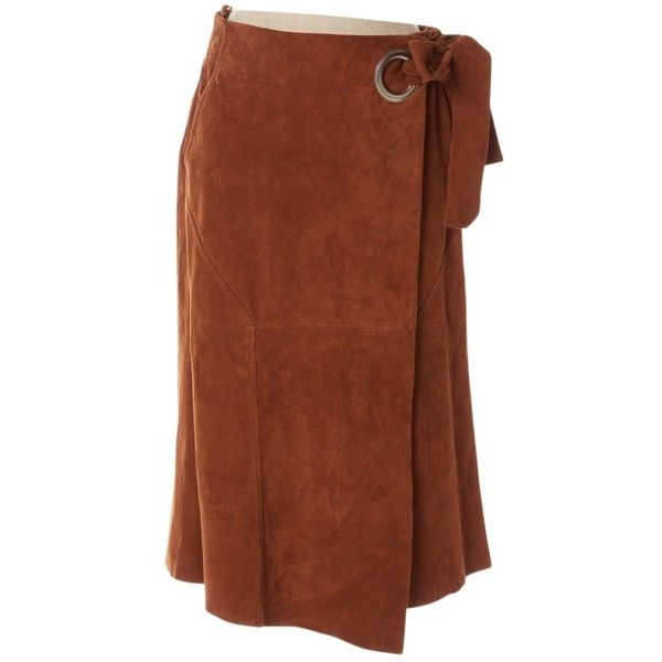 Pre-owned Tibi Mid-Length Skirt (255 AUD) ❤ liked on Polyvore featuring skirts, brown, tibi maxi skirt, tibi skirt, long brown skirt, brown maxi skirt and brown skirt