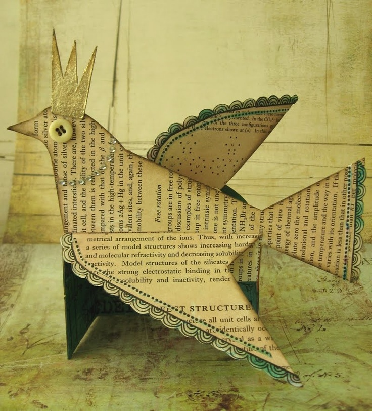 PAPER BIRDBook Display, Paper Pattern, Folding Pattern, Paper Birds, Folding Cards, Literary Birds, Book Pages, Paper Crafts, Art Projects