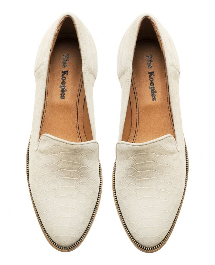 Phyton embossd leather slippers by The Kooples