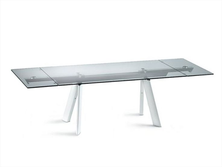 Dining glass table chronos les contemporaines collection for Table verre extensible roche bobois