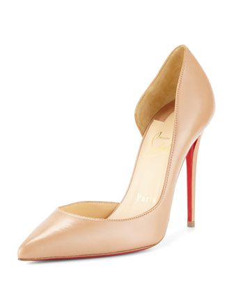 Iriza Half-d\'Orsay 100mm Red Sole Pump, Nude by Christian Louboutin at Neiman Marcus.