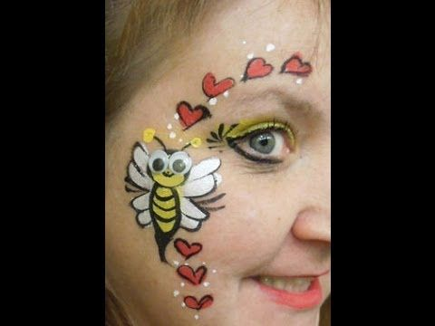 Valentine's Day face painting idea.  Baby bumblebee with love hearts.  Googly eyes make the kids laugh..  Step by step video tutorial.