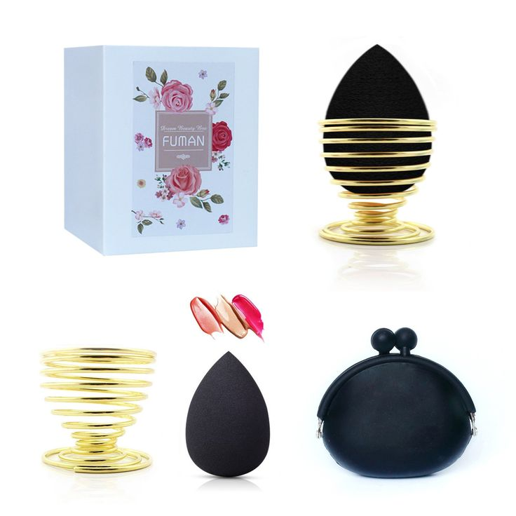 FUMAN Beauty Sponge Blender,Silicone Makeup Sponge,Konjac Sponge,Sponge Blender Holder,Makeup Blender Sponge Storage & Travel Case,3 Pack,4 Pack. SPONGE BLENDER HOLDER-Stainless steel sponge blender holder made out of Stainless steel gold plating finish.Suitable for Everyday Use. Put at a cool,dry,and ventilated place.The collapsible design makes it easy to carry them along in make-up bag; an absolute must on trips! The Bling bling sponge blender holder made out of plastics.Enhances any...