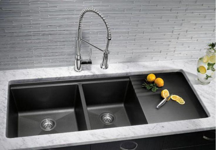 Slate Black Undermount Kitchen Sinks With Drainer