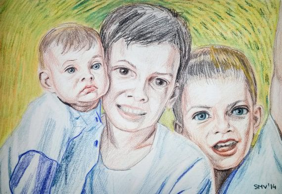 CUSTOM TRIPLE PORTRAIT  Professional Artist Hand by BabyPortraitArt  The feeling conveyed by the image is that these three brothers' love, although being still children, will keep them together forever.  If you are looking for an affordable and unique handmade gift, this listing is what you are looking for! #children #kids #portrait #gifts #love #occasion #brothers