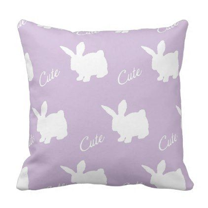ClaireBlossom Cute rabbit purple Throw Pillow - decor gifts diy home & living cyo giftidea