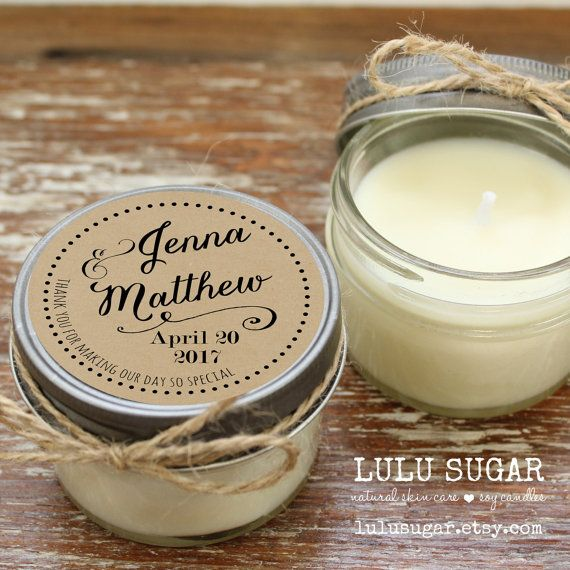 Set of 12 - 4 oz Soy Candle Wedding Favors - Jenna Label Design - Arrow Wedding Favors // Wedding Favor Candles // Wedding Favors