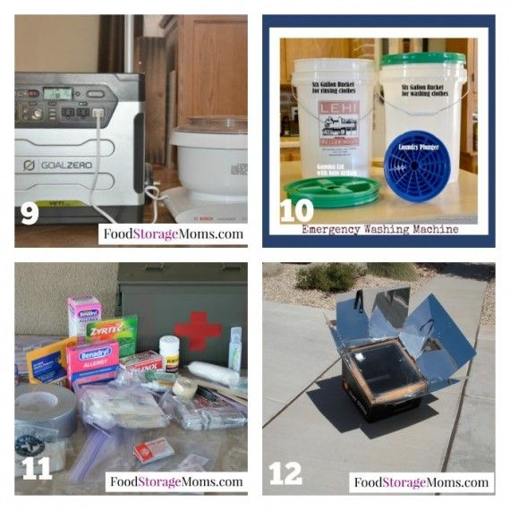 12 Top Emergency Preparedness Items | via www.foodstoragemoms.com Goal Zero solar generator, solar oven, emergency clothes washer