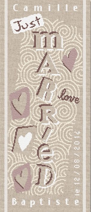 """Lilipoints - Mariage """"Just married"""" 99 x 270 points  M008"""